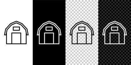 Set line Farm house icon isolated on black and white background. Vector