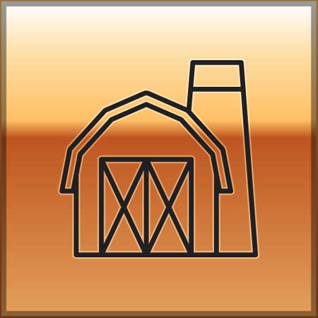 Black line Farm house icon isolated on gold background. Vector