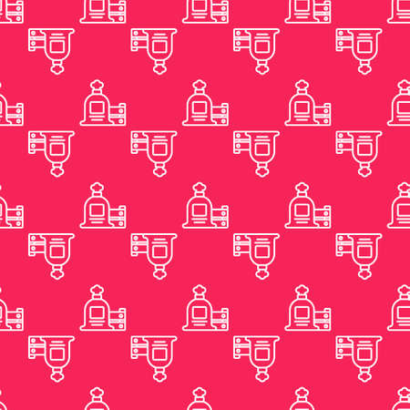 White line Full sack and wooden box icon isolated seamless pattern on red background. Vector 矢量图像
