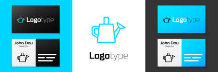 Blue line Watering can icon isolated on white background. Irrigation symbol. Logo design template element. Vector