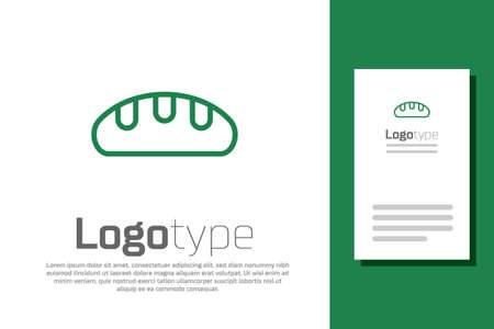 Green line Bread loaf icon isolated on white background. Logo design template element. Vector