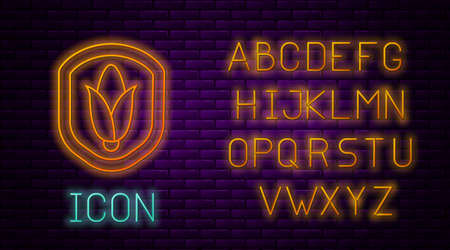 Glowing neon line Shield corn icon isolated on brick wall background. Security, safety, protection, privacy concept. Neon light alphabet. Vector
