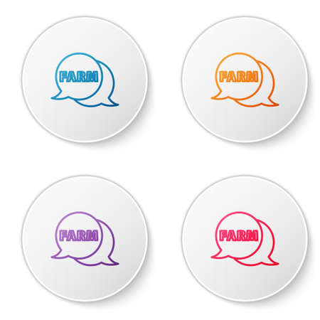 Color line Speech bubble with text Farm icon isolated on white background. Set icons in circle buttons. Vector Illusztráció