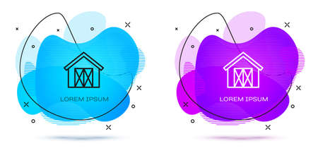 Line Farm house icon isolated on white background. Abstract banner with liquid shapes. Vector