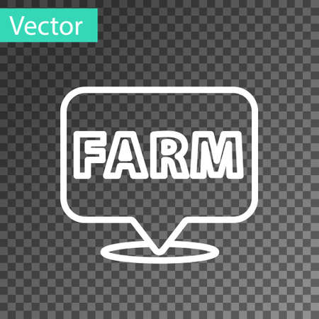 White line Location farm icon isolated on transparent background. Vector