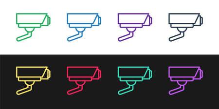 Set line Security camera icon isolated on black and white background. Vector Ilustração