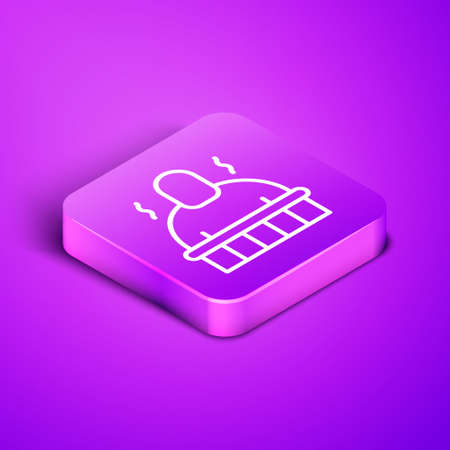 Isometric line Sauna and spa procedures icon isolated on purple background. Relaxation body care and therapy, aromatherapy and wellness. Purple square button. Vector