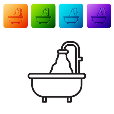 Black line Bathtub icon isolated on white background. Set icons in color square buttons. Vector Vectores