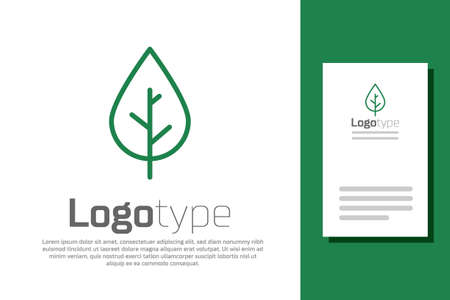 Green line Leaf icon isolated on white background. Fresh natural product symbol. Logo design template element. Vector 일러스트