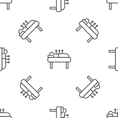 Grey line Acupuncture therapy icon isolated seamless pattern on white background. Chinese medicine. Holistic pain management treatments. Vector Illustration