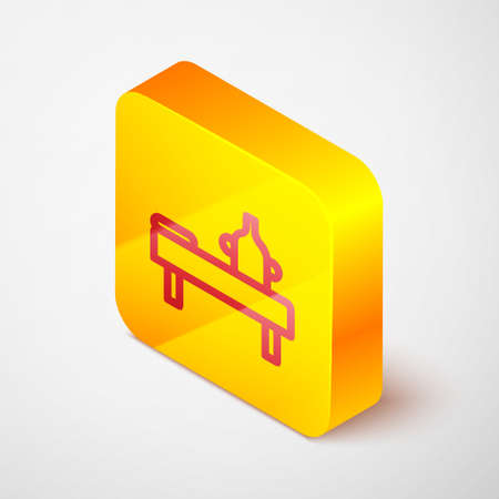 Isometric line Massage table with oil icon isolated on grey background. Yellow square button. Vector