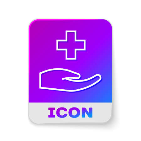 White line Cross hospital medical icon isolated on white background. First aid. Diagnostics symbol. Medicine and pharmacy sign. Rectangle color button. Vector Vectores