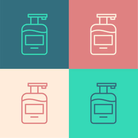 Pop art line Bottle of liquid antibacterial soap with dispenser icon isolated on color background. Antiseptic. Disinfection, hygiene, skin care. Vector