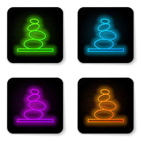 Glowing neon line Stack hot stones icon isolated on white background. Spa salon accessory. Black square button. Vector