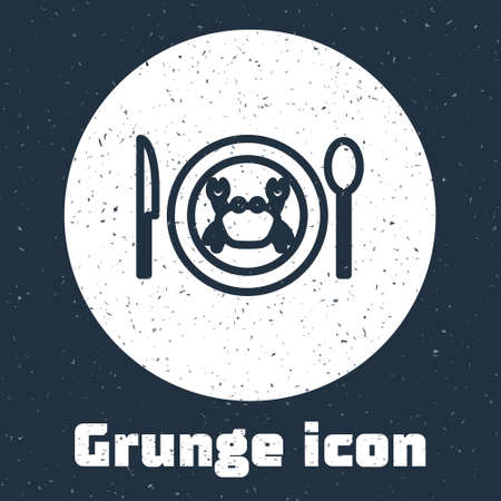 Grunge line Served crab on a plate icon isolated on grey background. Monochrome vintage drawing. Vector.