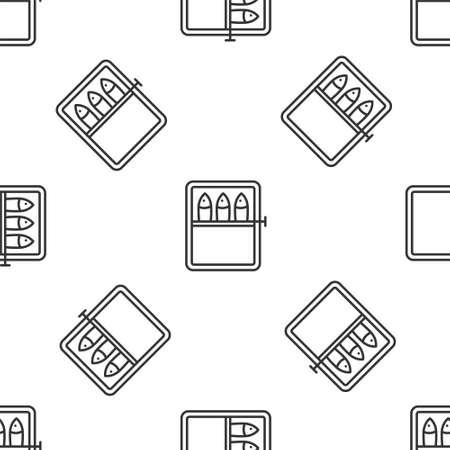 Grey line Canned fish icon isolated seamless pattern on white background. Vector.