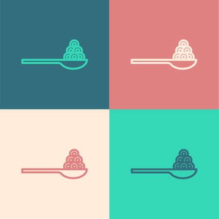 Pop art line Caviar on a spoon icon isolated on color background. Vector.