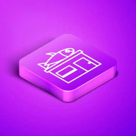 Isometric line Seafood store icon isolated on purple background. Facade of seafood market. Purple square button. Vector.