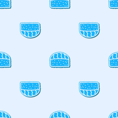Blue line Sushi icon isolated seamless pattern on grey background. Traditional Japanese food. Vector.