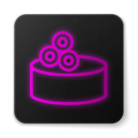 Glowing neon line Tin can with caviar icon isolated on white background. Black square button. Vector.