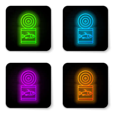 Glowing neon line Canned fish icon isolated on white background. Black square button. Vector.