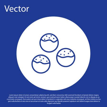Blue line Takoyaki icon isolated on blue background. Japanese street food. White circle button. Vector.