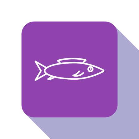 White line Fish icon isolated on white background. Purple square button. Vector. Illusztráció