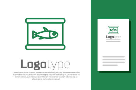 Green line Canned fish icon isolated on white background. Logo design template element. Vector.