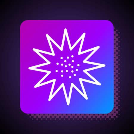 White line Sea urchin icon isolated on black background. Square color button. Vector.