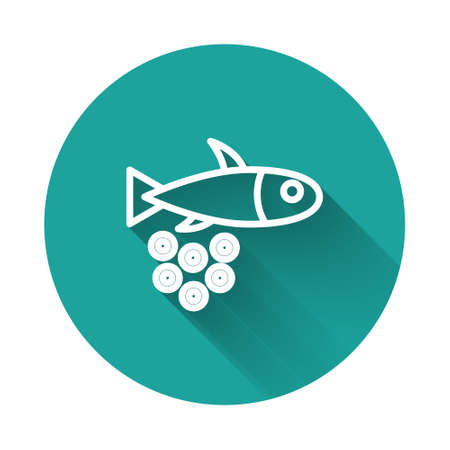 White line Fish with caviar icon isolated with long shadow. Green circle button. Vector. Illusztráció