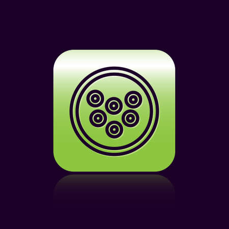 Black line Caviar on a plate icon isolated on black background. Green square button. Vector.