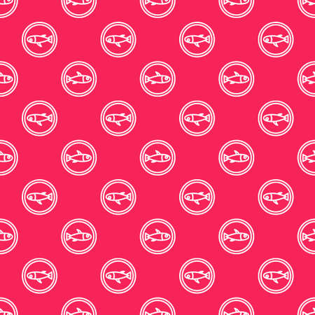 White line Served fish on a plate icon isolated seamless pattern on red background. Vector.