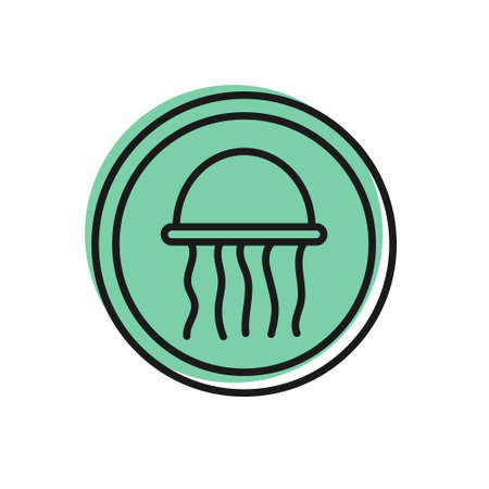Black line Jellyfish on a plate icon isolated on white background. Vector.