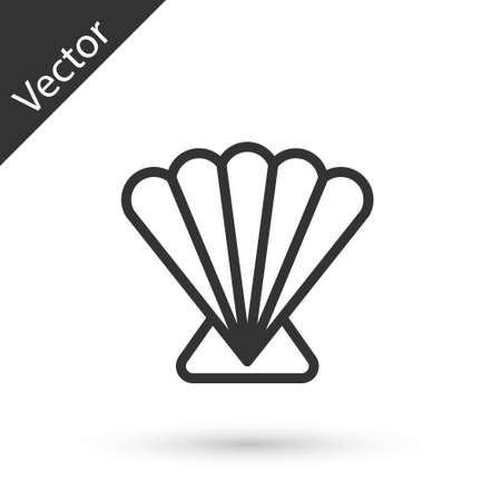 Grey line Scallop sea shell icon isolated on white background. Seashell sign. Vector.