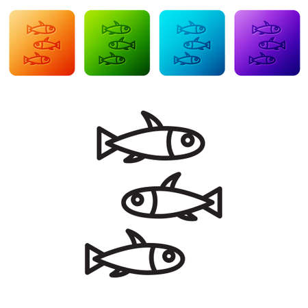 Black line Fishes icon isolated on white background. Set icons in color square buttons. Vector.