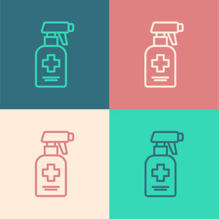 Pop art line Bottle of liquid antibacterial soap with dispenser icon isolated on color background. Antiseptic. Disinfection, hygiene, skin care. Vector.
