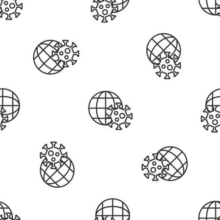 Grey line Earth globe with virus icon isolated seamless pattern on white background. Corona virus 2019-nCoV. Bacteria and germs, cell cancer, microbe, fungi. Vector. 矢量图像