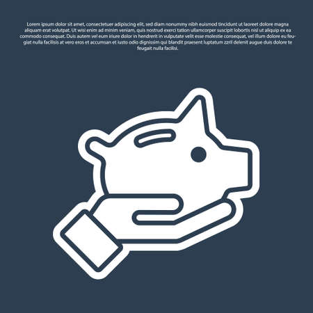 Blue line Piggy bank icon isolated on blue background. Icon saving or accumulation of money, investment. Vector.