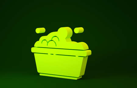 Yellow Plastic basin with soap suds icon isolated on green background. Bowl with water. Washing clothes, cleaning equipment. Minimalism concept. 3d illustration 3D render