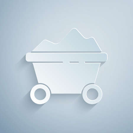 Paper cut Coal mine trolley icon isolated on grey background. Factory coal mine trolley. Paper art style. Vector Illustration  イラスト・ベクター素材