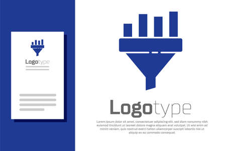 Blue Sales funnel with chart for marketing and startup business icon isolated on white background. Infographic template. Logo design template element. Vector Illustration
