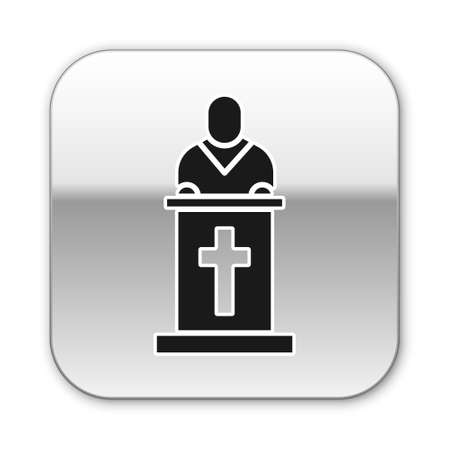 Black Church pastor preaching icon isolated on white background. Silver square button. Vector Illustration Vettoriali