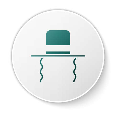 Green Orthodox jewish hat with sidelocks icon isolated on white background. Jewish men in the traditional clothing. Judaism symbols. White circle button. Vector Illustration Illusztráció