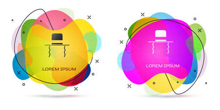 Color Orthodox jewish hat with sidelocks icon isolated on white background. Jewish men in the traditional clothing. Judaism symbols. Abstract banner with liquid shapes. Vector Illustration Illusztráció