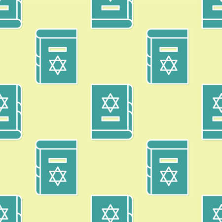 Green Jewish torah book icon isolated seamless pattern on yellow background. On the cover of the Bible is the image of the Star of David. Vector Illustration