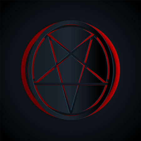 Paper cut Pentagram in a circle icon isolated on black background. Magic occult star symbol. Paper art style. Vector Illustration