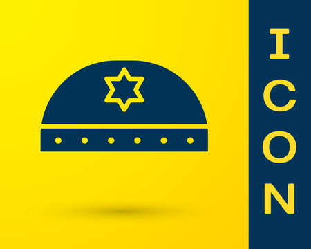 Blue Jewish kippah with star of david icon isolated on yellow background. Jewish yarmulke hat. Vector Illustration Illusztráció