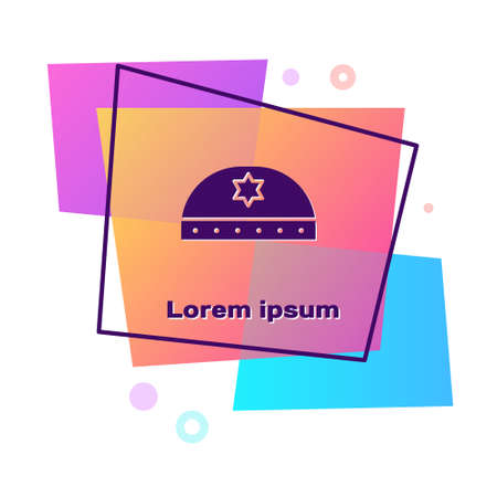 Purple Jewish kippah with star of david icon isolated on white background. Jewish yarmulke hat. Color rectangle button. Vector Illustration