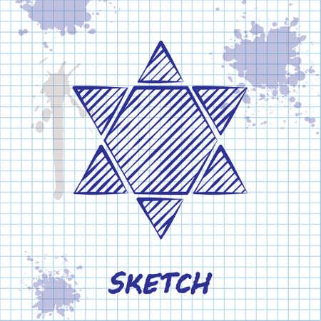Sketch line Star of David icon isolated on white background. Jewish religion symbol. Symbol of Israel. Vector Illustration
