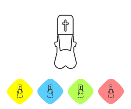 Grey line Priest icon isolated on white background. Set icons in color rhombus buttons. Vector Illustration Ilustração